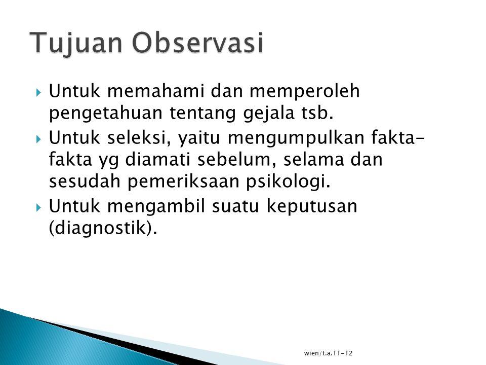 Tujuan Observasi Untuk memahami dan memperoleh pengetahuan tentang gejala tsb.
