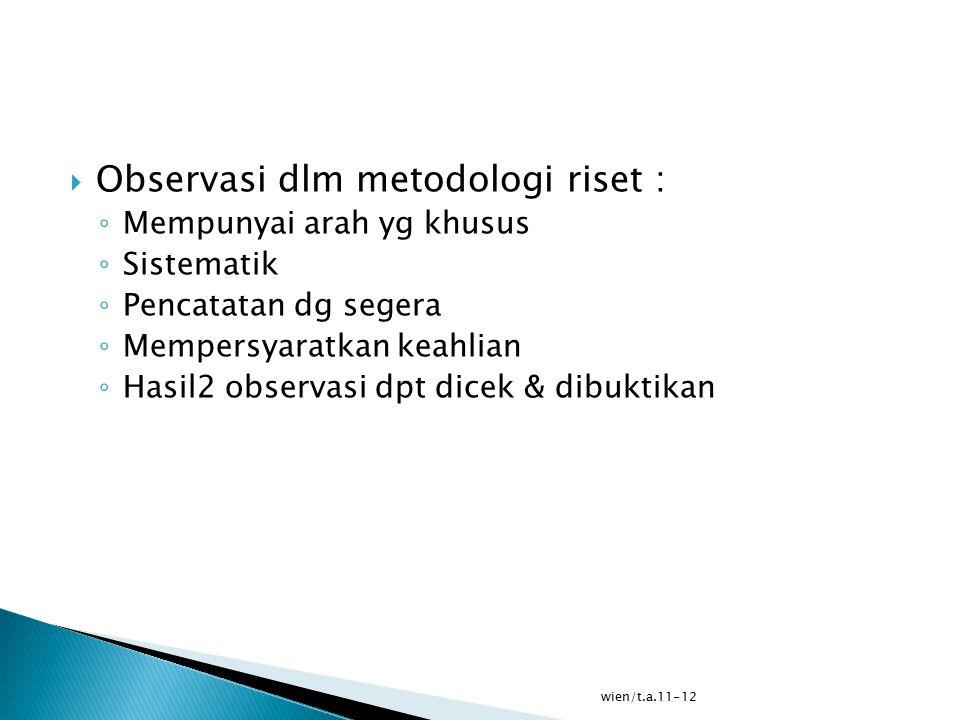 Observasi dlm metodologi riset :