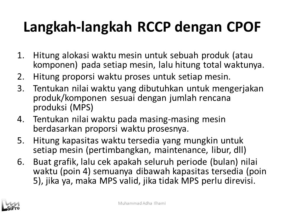 Langkah-langkah RCCP dengan CPOF