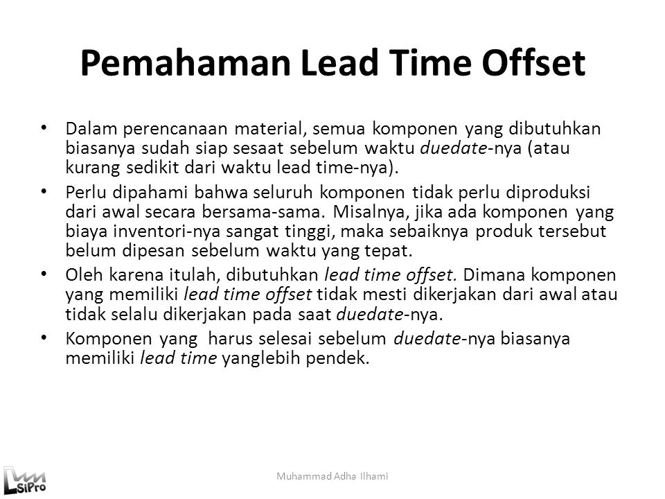 Pemahaman Lead Time Offset