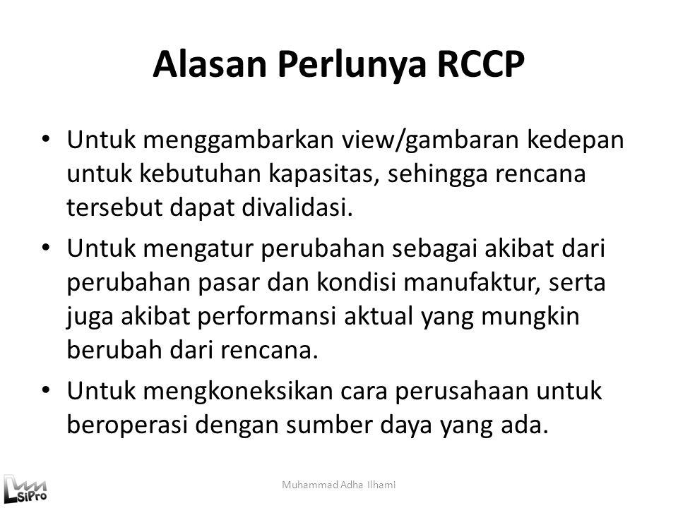 Alasan Perlunya RCCP Untuk menggambarkan view/gambaran kedepan untuk kebutuhan kapasitas, sehingga rencana tersebut dapat divalidasi.