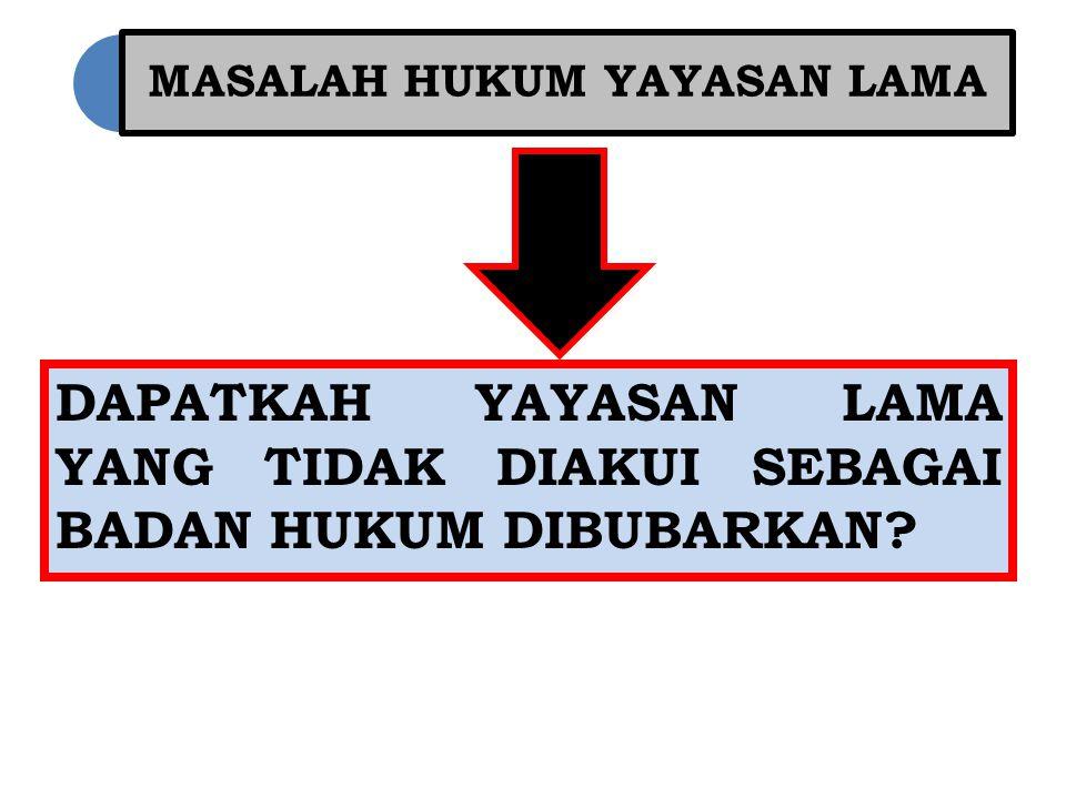 MASALAH HUKUM YAYASAN LAMA