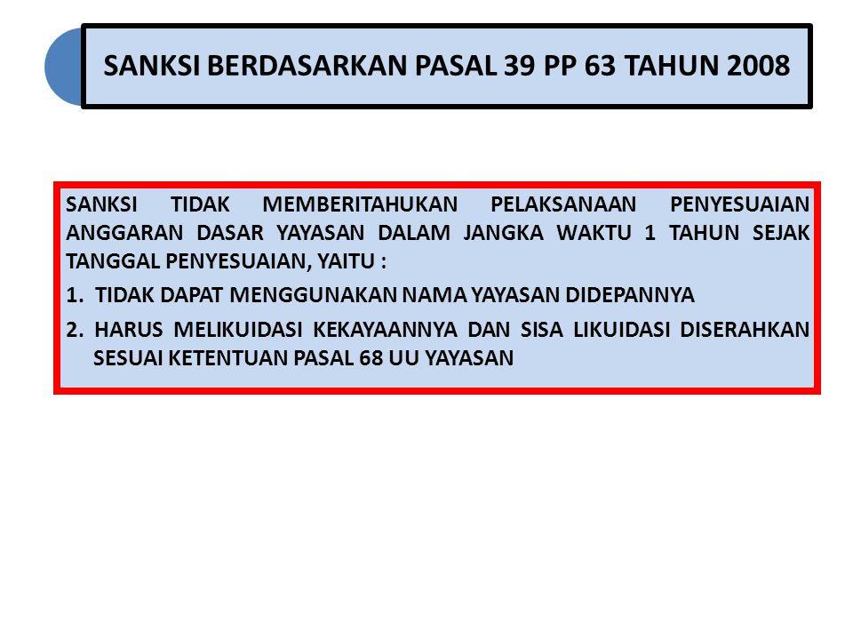 SANKSI BERDASARKAN PASAL 39 PP 63 TAHUN 2008