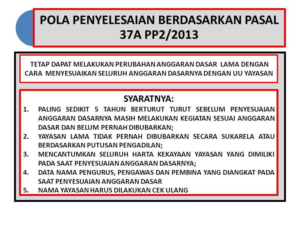 POLA PENYELESAIAN BERDASARKAN PASAL 37A PP2/2013