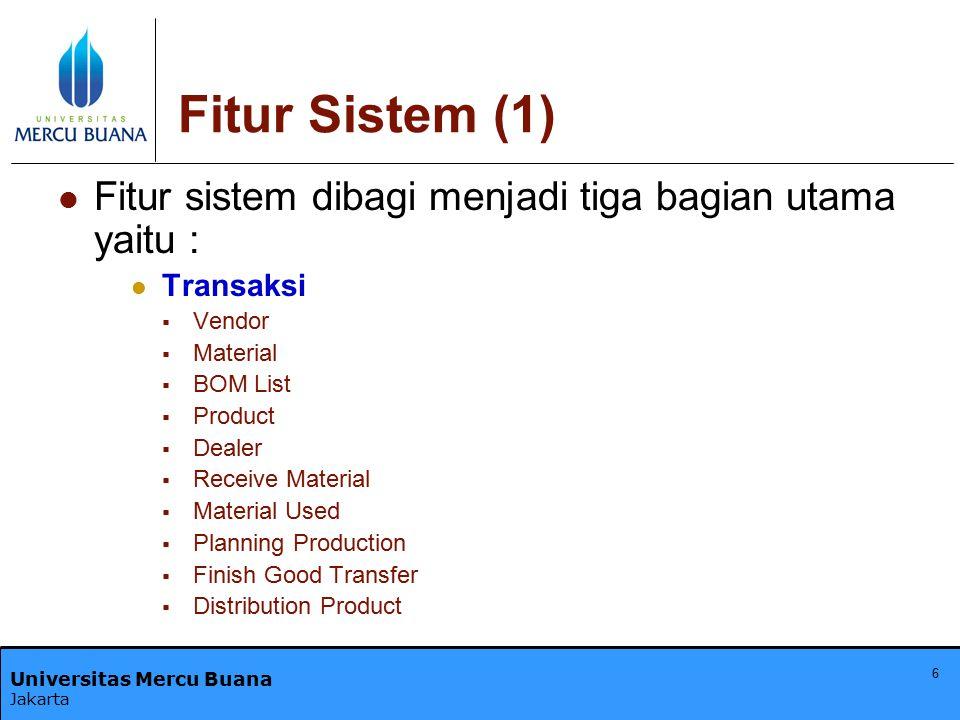 Fitur Sistem (1) Fitur sistem dibagi menjadi tiga bagian utama yaitu :