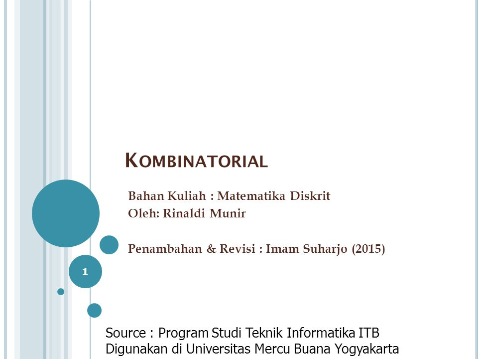 Kombinatorial Source : Program Studi Teknik Informatika ITB