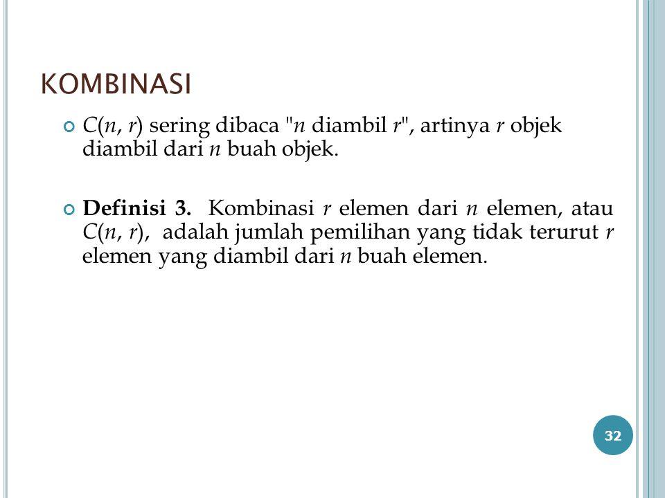 KOMBINASI C(n, r) sering dibaca n diambil r , artinya r objek diambil dari n buah objek.