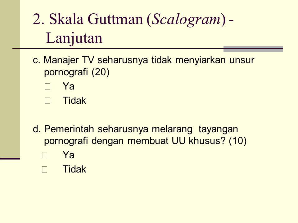 2. Skala Guttman (Scalogram) - Lanjutan