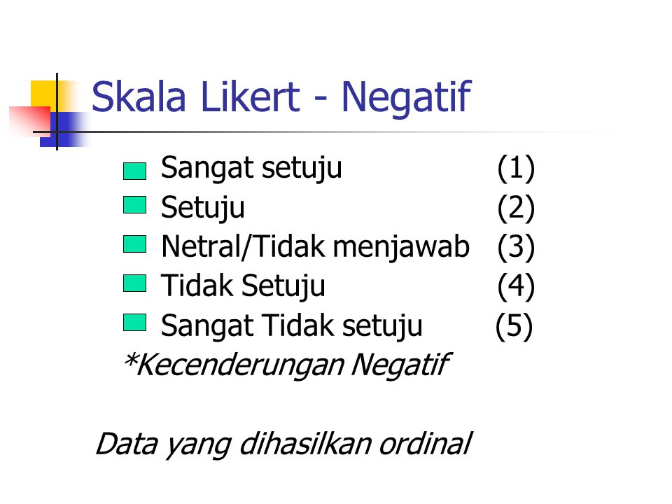 Skala Likert - Negatif Sangat setuju (1) Setuju (2)