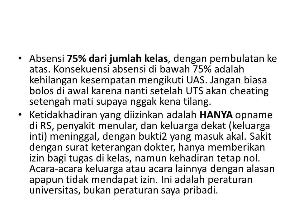 Absensi 75% dari jumlah kelas, dengan pembulatan ke atas