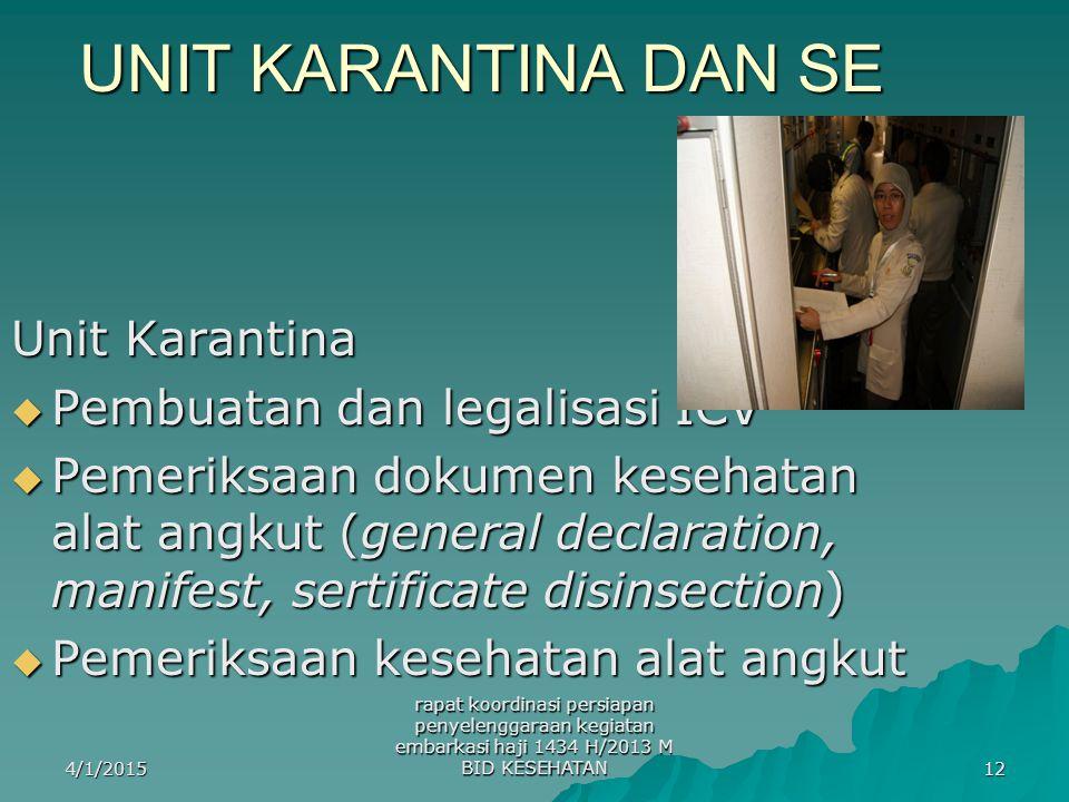 UNIT KARANTINA DAN SE Unit Karantina Pembuatan dan legalisasi ICV