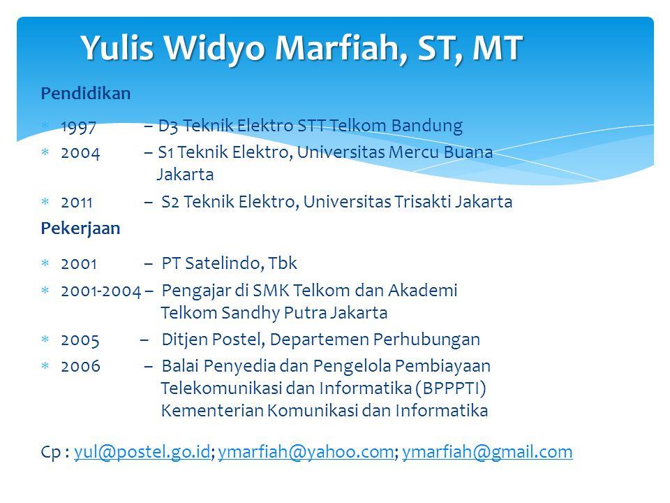 Yulis Widyo Marfiah, ST, MT