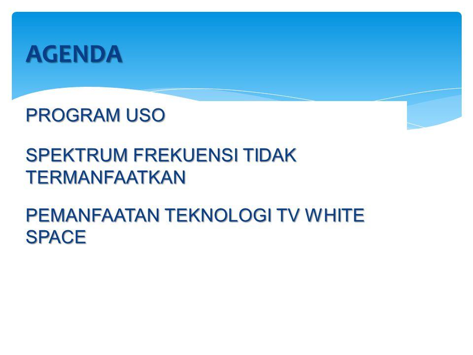 AGENDA PROGRAM USO SPEKTRUM FREKUENSI TIDAK TERMANFAATKAN PEMANFAATAN TEKNOLOGI TV WHITE SPACE