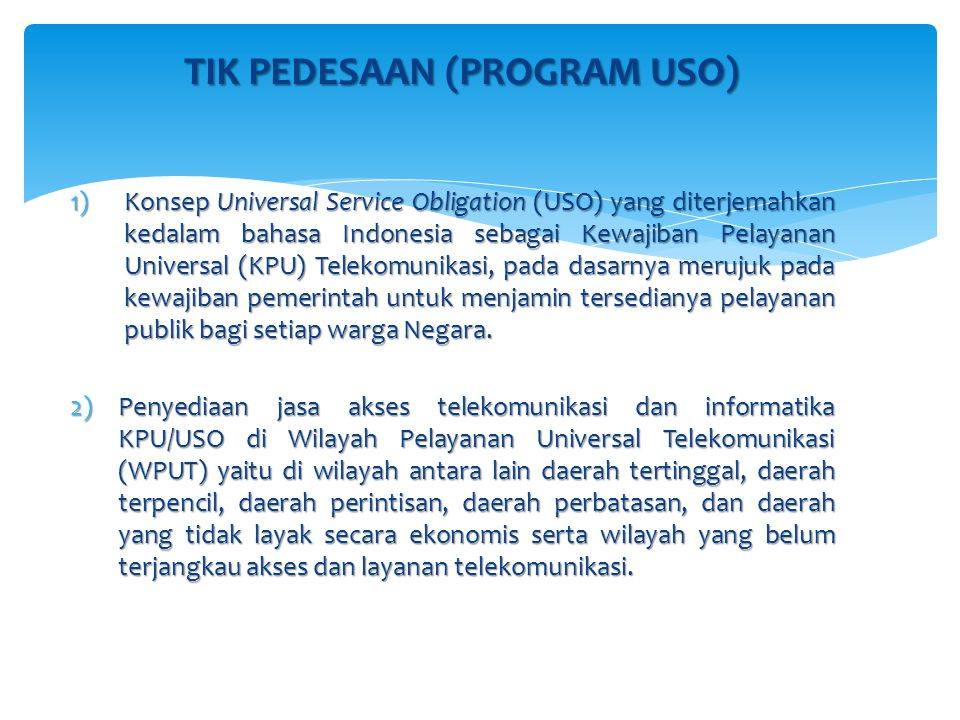 TIK PEDESAAN (PROGRAM USO)