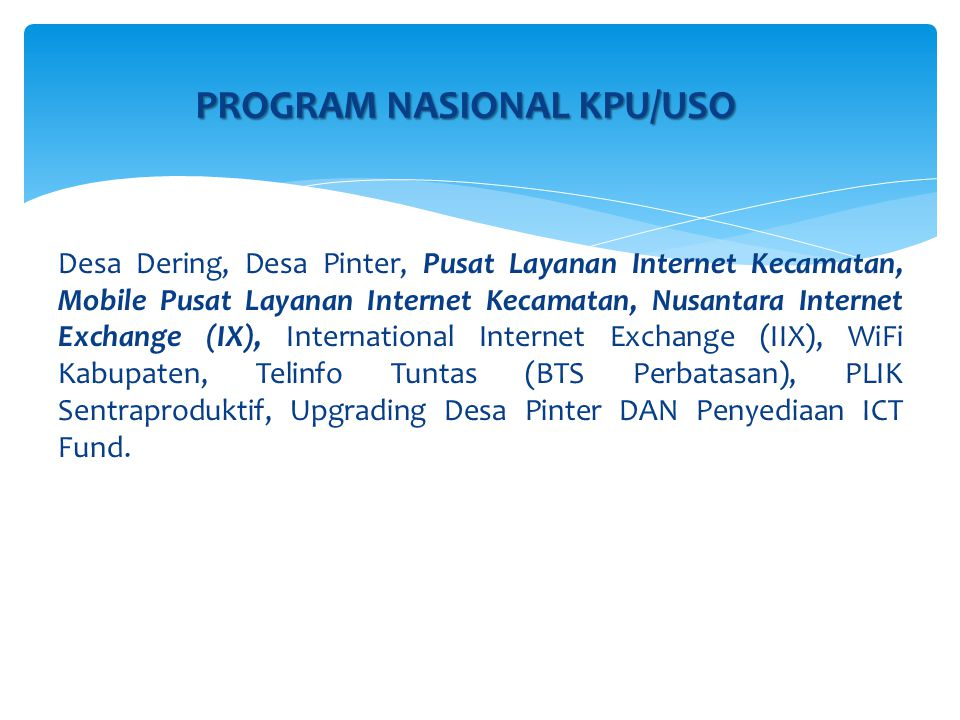 PROGRAM NASIONAL KPU/USO