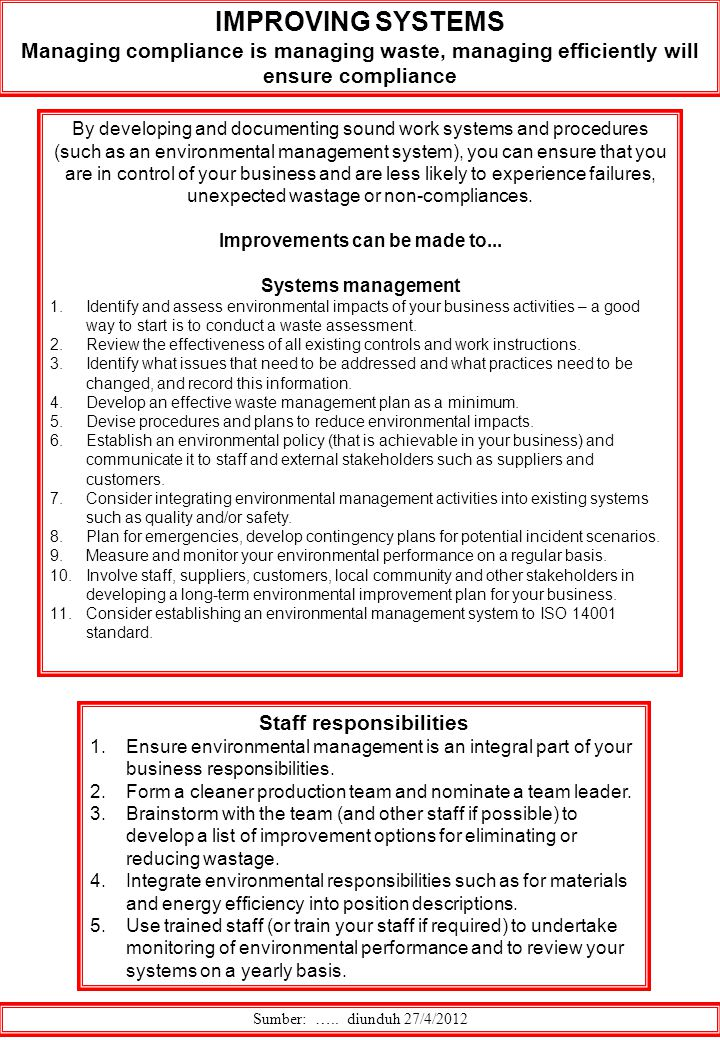 Improvements can be made to... Staff responsibilities