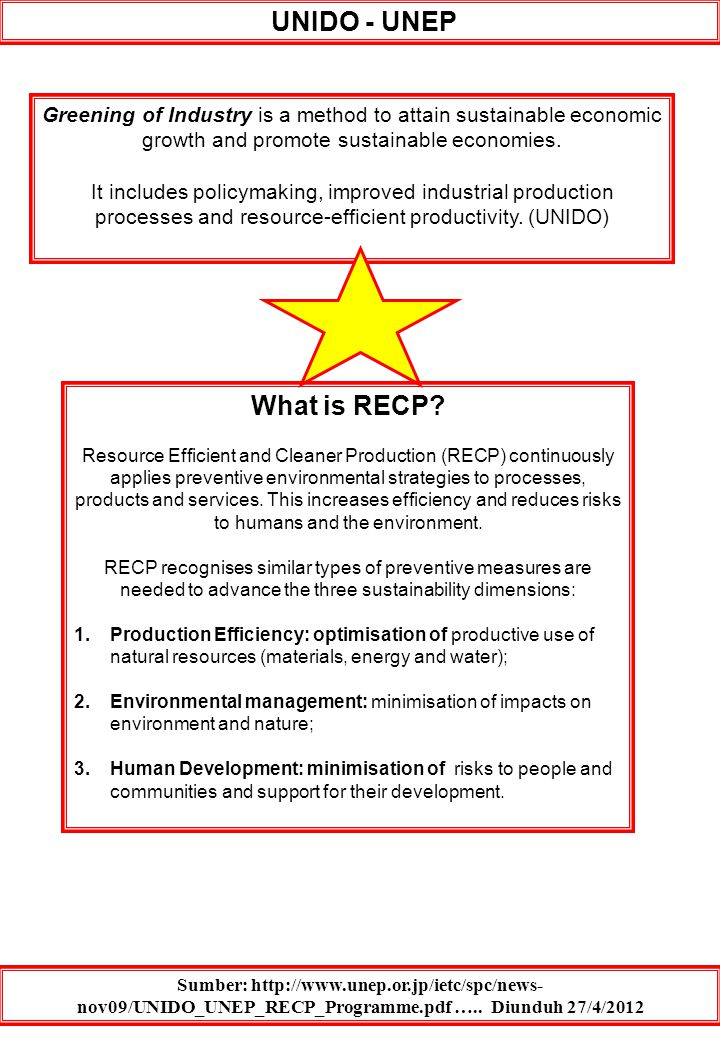 UNIDO - UNEP What is RECP