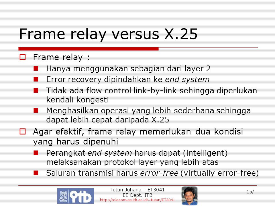 Frame relay versus X.25 Frame relay :
