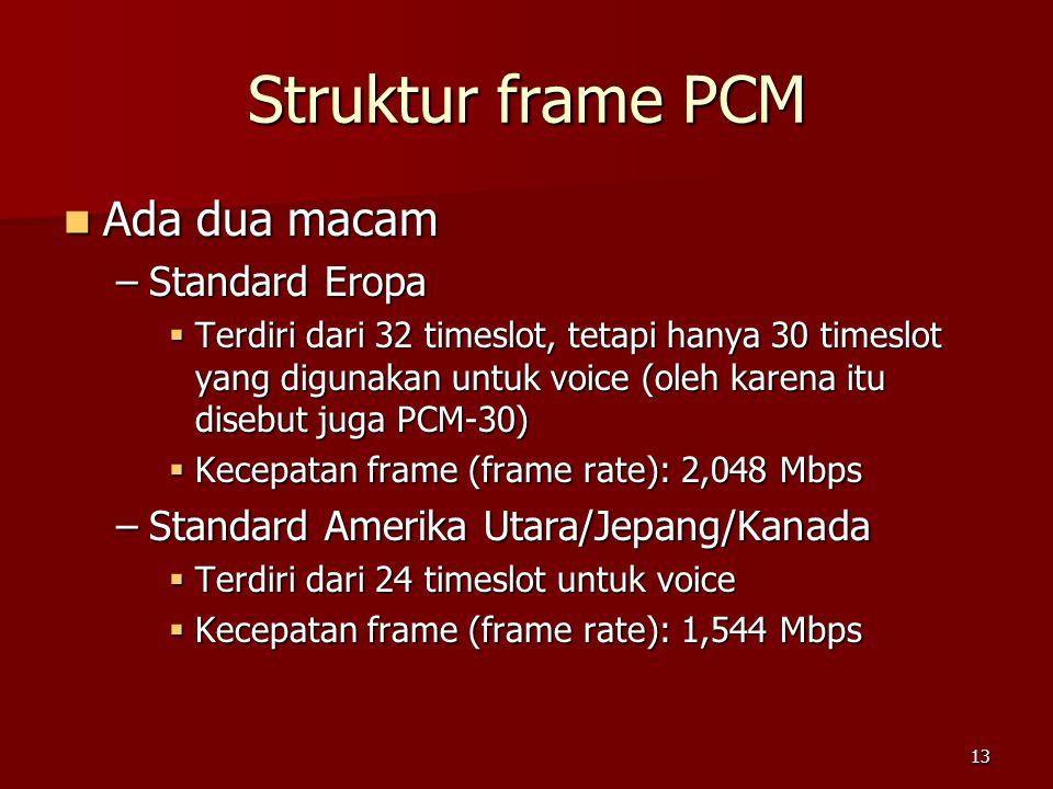 Struktur frame PCM Ada dua macam Standard Eropa