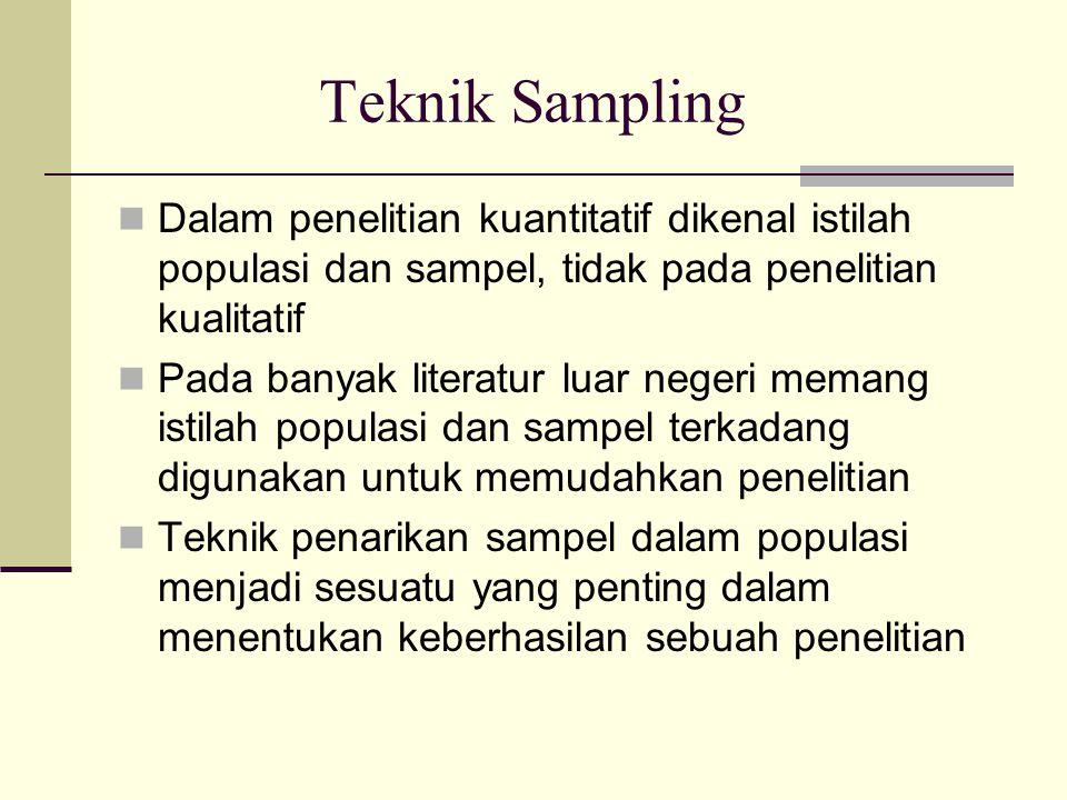 Teknik Sampling Dalam penelitian kuantitatif dikenal istilah populasi dan sampel, tidak pada penelitian kualitatif.
