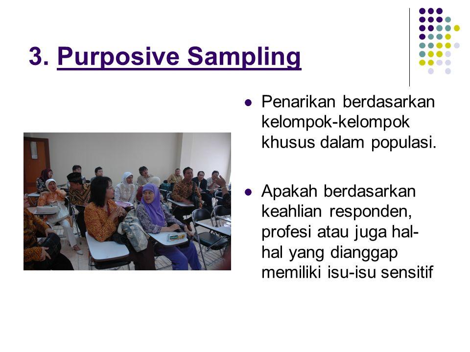 3. Purposive Sampling Penarikan berdasarkan kelompok-kelompok khusus dalam populasi.