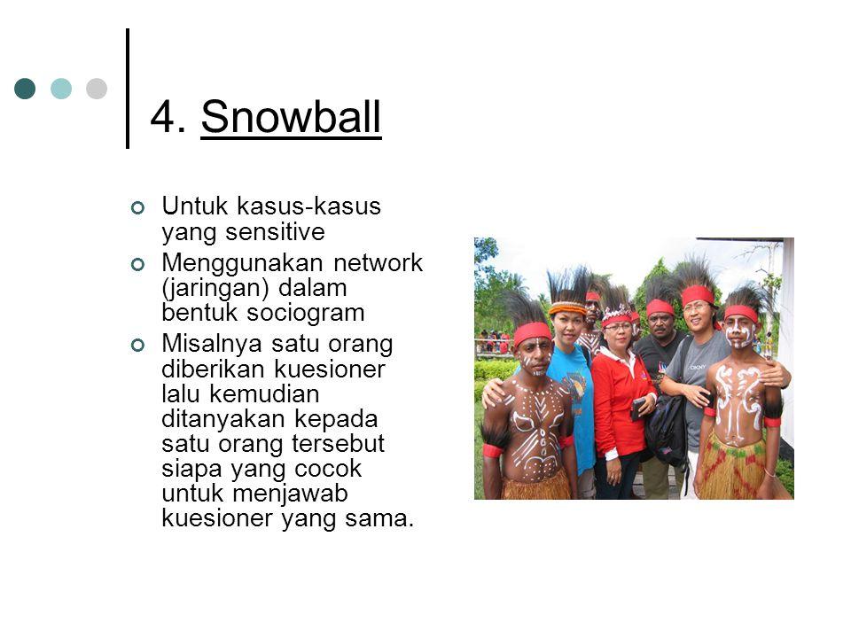 4. Snowball Untuk kasus-kasus yang sensitive