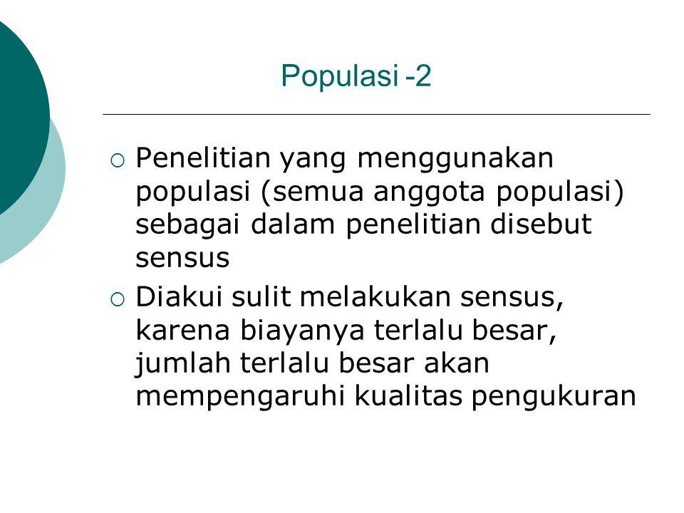 Populasi -2 Penelitian yang menggunakan populasi (semua anggota populasi) sebagai dalam penelitian disebut sensus.
