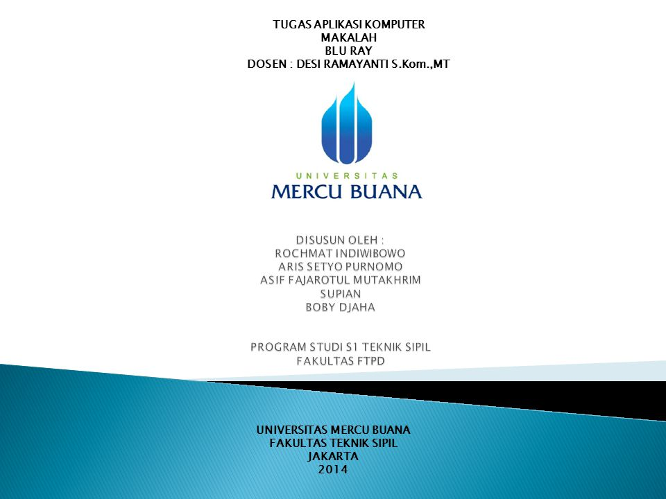 UNIVERSITAS MERCU BUANA FAKULTAS TEKNIK SIPIL JAKARTA 2014