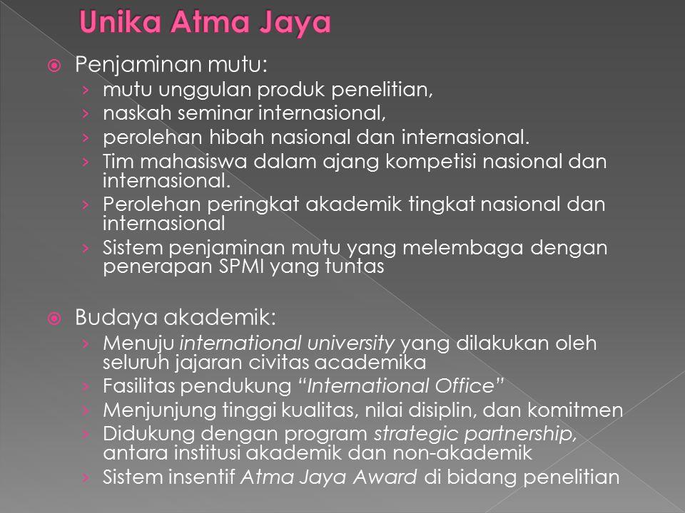 Unika Atma Jaya Penjaminan mutu: Budaya akademik: