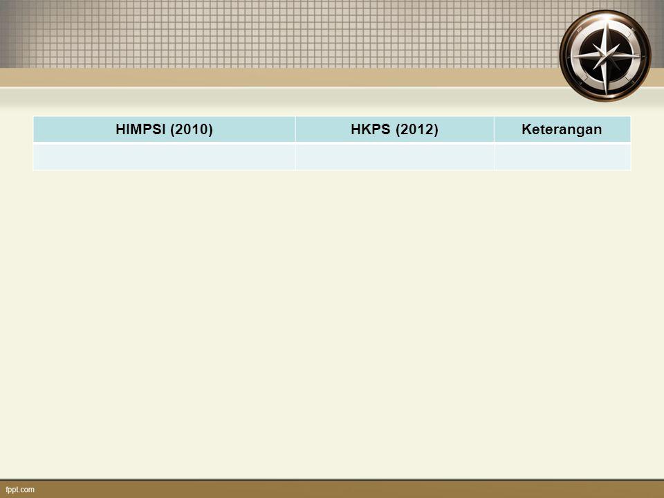HIMPSI (2010) HKPS (2012) Keterangan