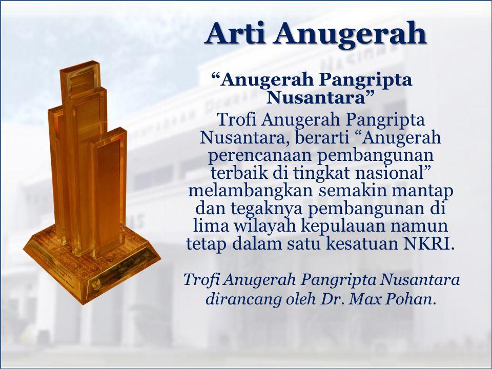 Trofi Anugerah Pangripta Nusantara dirancang oleh Dr. Max Pohan.