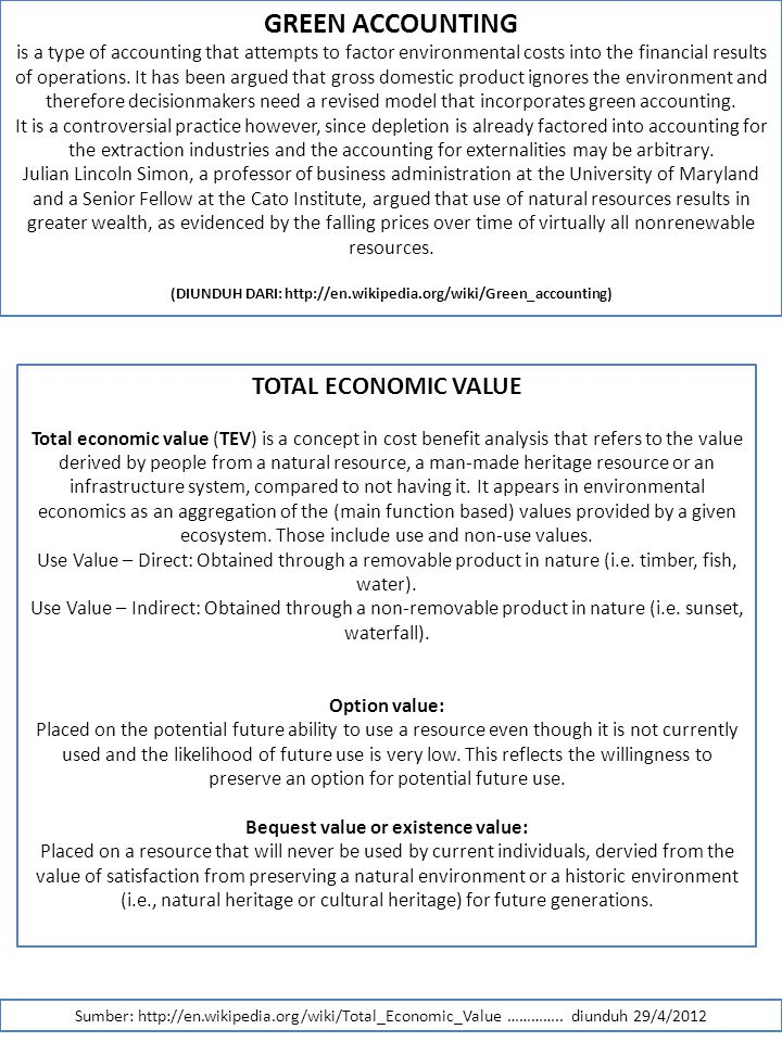 GREEN ACCOUNTING TOTAL ECONOMIC VALUE