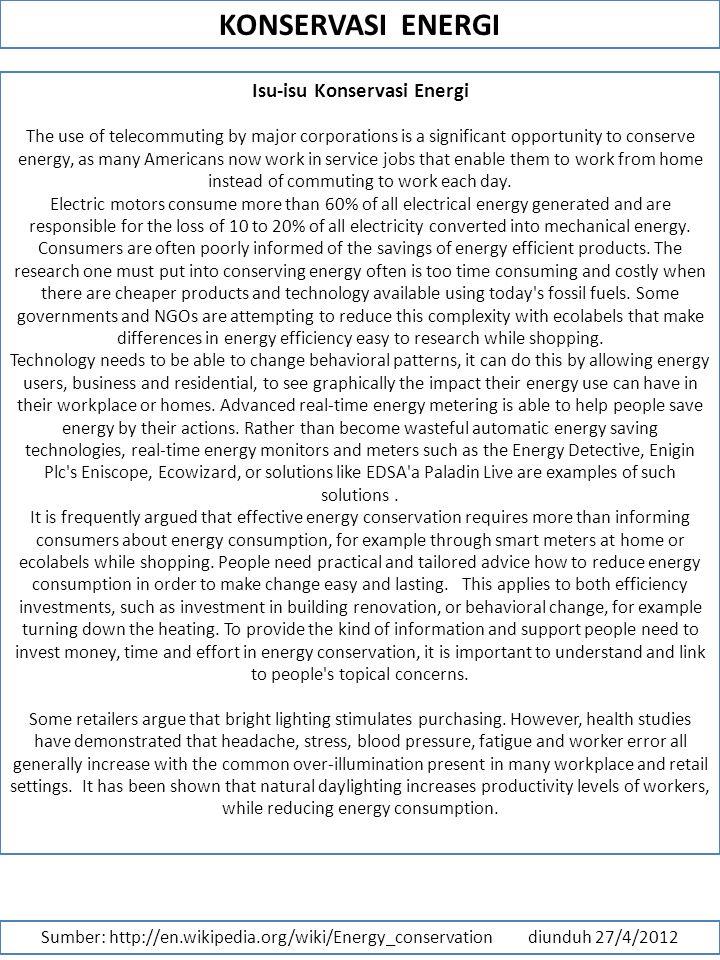 Isu-isu Konservasi Energi