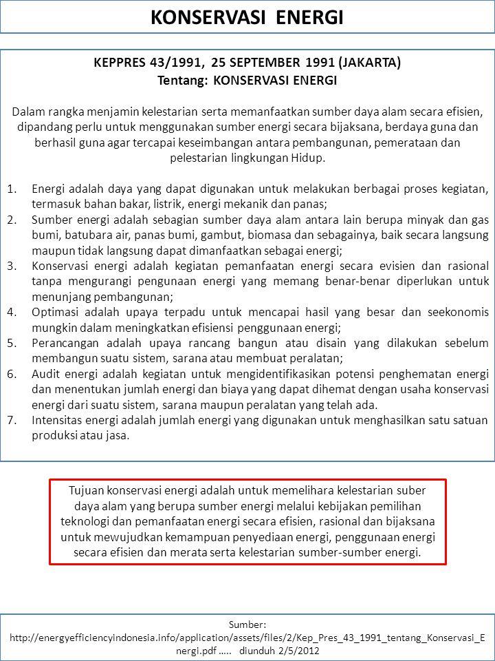 KONSERVASI ENERGI KEPPRES 43/1991, 25 SEPTEMBER 1991 (JAKARTA)
