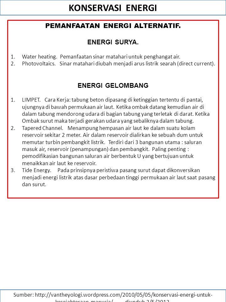 PEMANFAATAN ENERGI ALTERNATIF.