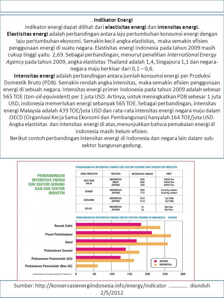 . Indikator Energi Indikator energi dapat dilihat dari elastisitas energi dan intensitas energi.
