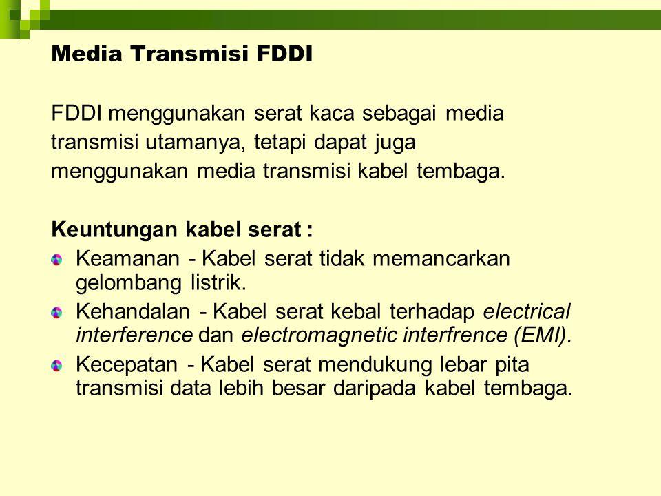 Media Transmisi FDDI FDDI menggunakan serat kaca sebagai media. transmisi utamanya, tetapi dapat juga.