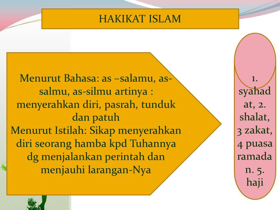 1. syahadat, 2. shalat, 3 zakat, 4 puasa ramadan. 5. haji