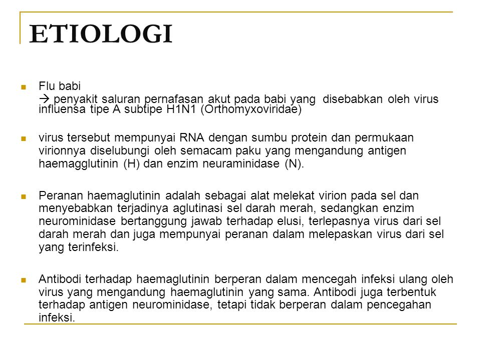 ETIOLOGI Flu babi.  penyakit saluran pernafasan akut pada babi yang disebabkan oleh virus influensa tipe A subtipe H1N1 (Orthomyxoviridae)