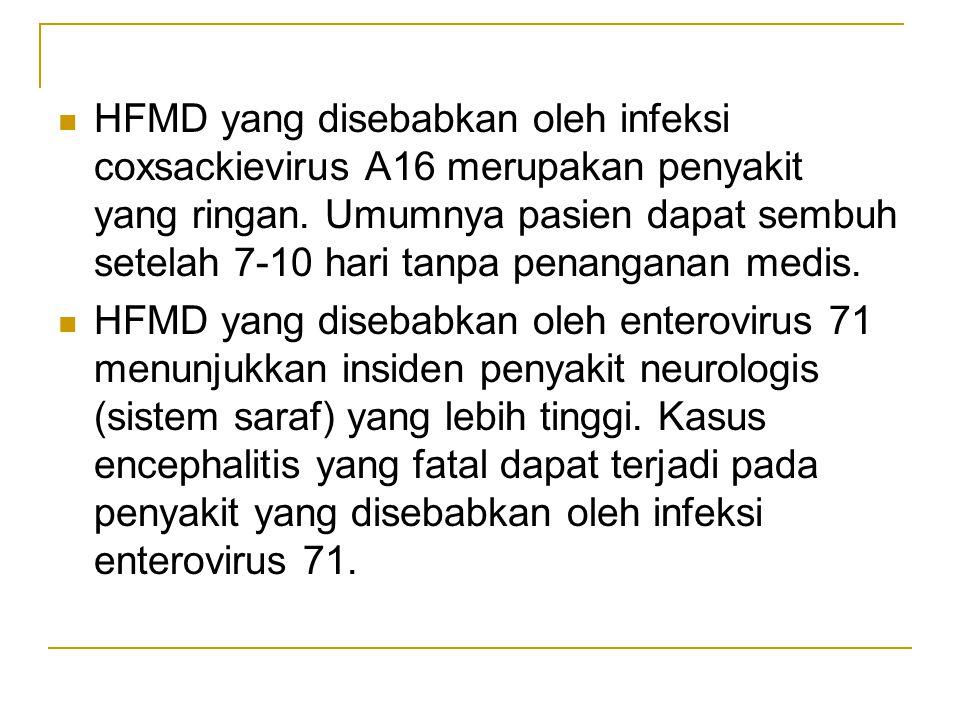 HFMD yang disebabkan oleh infeksi coxsackievirus A16 merupakan penyakit yang ringan. Umumnya pasien dapat sembuh setelah 7-10 hari tanpa penanganan medis.