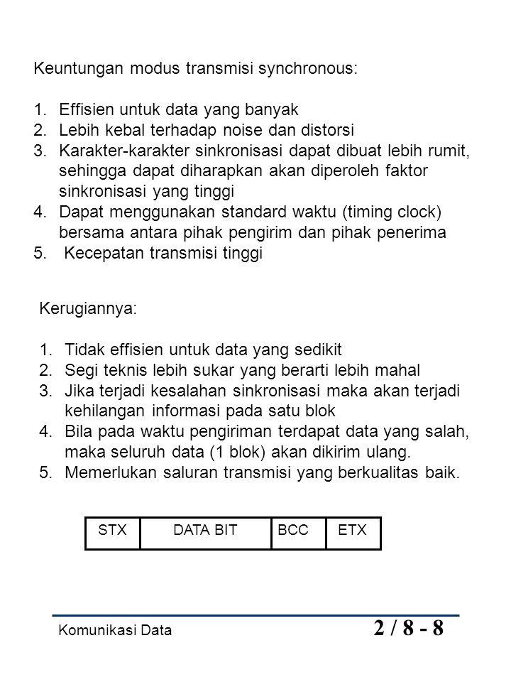 Keuntungan modus transmisi synchronous: