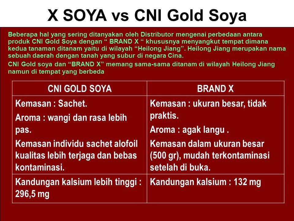 X SOYA vs CNI Gold Soya CNI GOLD SOYA BRAND X Kemasan : Sachet.
