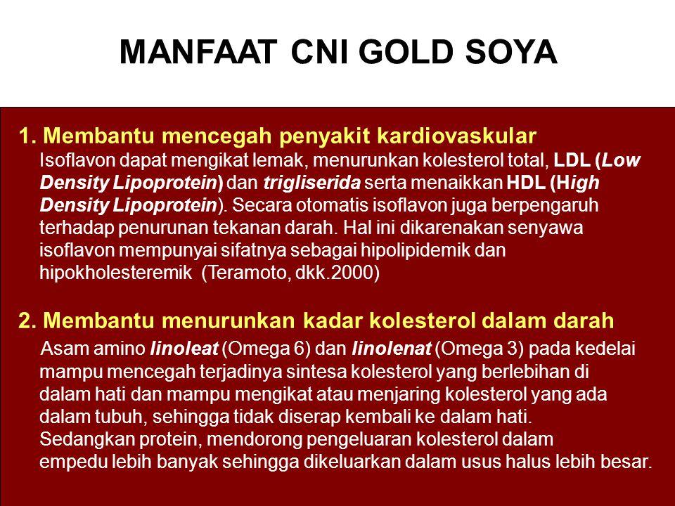 MANFAAT CNI GOLD SOYA 1. Membantu mencegah penyakit kardiovaskular