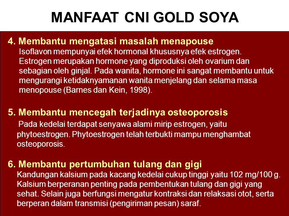 MANFAAT CNI GOLD SOYA 4. Membantu mengatasi masalah menapouse