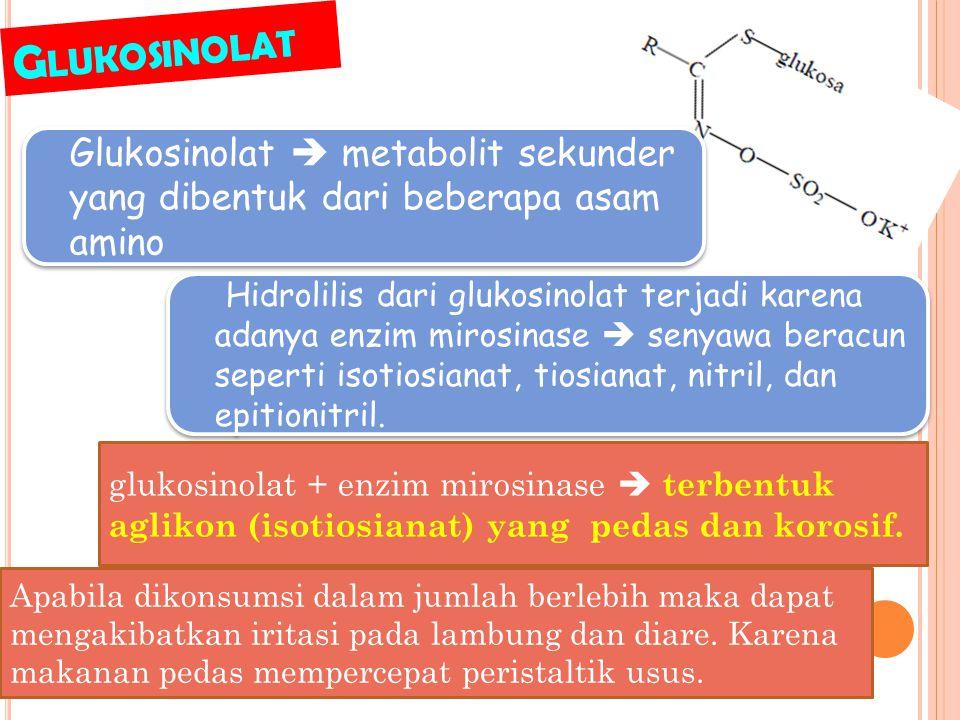 Glukosinolat Glukosinolat  metabolit sekunder yang dibentuk dari beberapa asam amino.