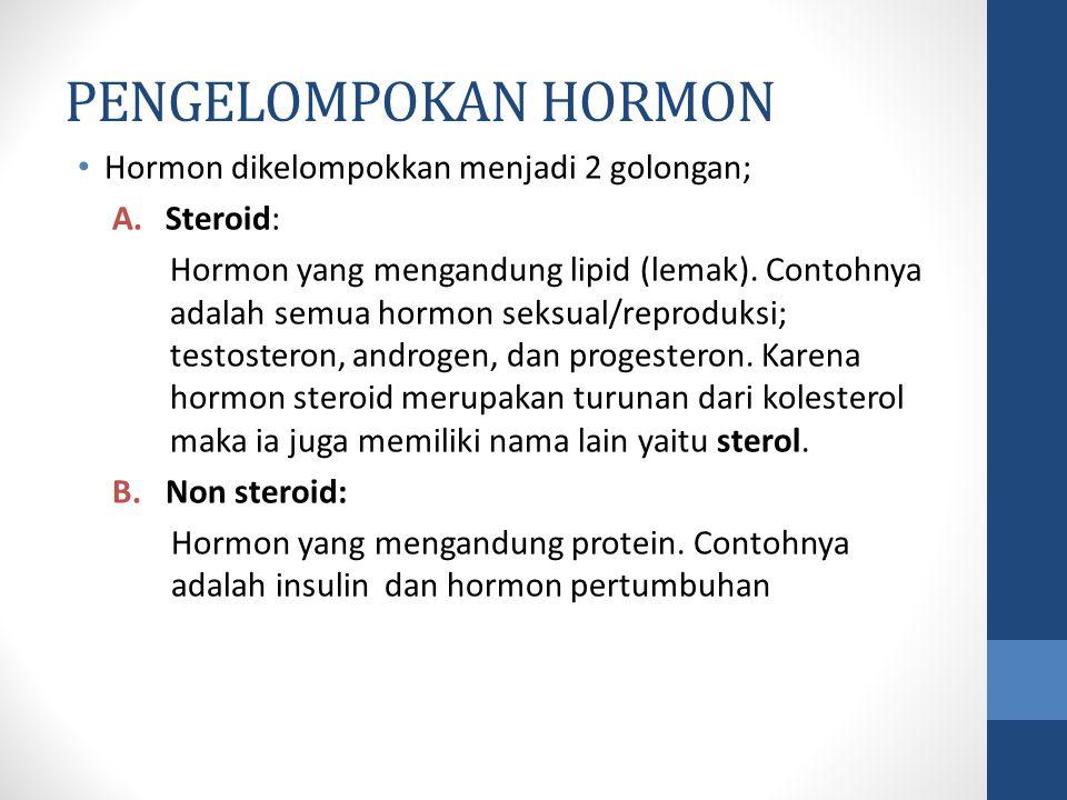 PENGELOMPOKAN HORMON Hormon dikelompokkan menjadi 2 golongan; Steroid: