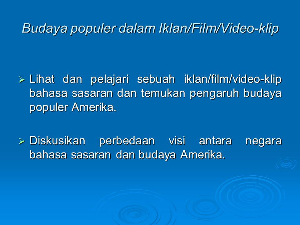 Budaya populer dalam Iklan/Film/Video-klip
