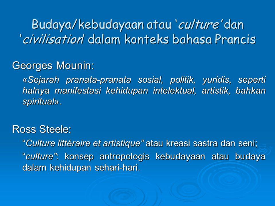 Budaya/kebudayaan atau 'culture' dan 'civilisation' dalam konteks bahasa Prancis