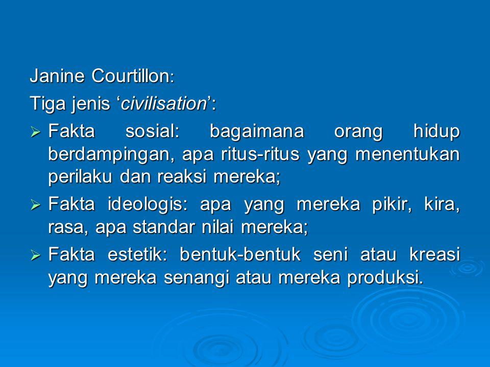 Janine Courtillon: Tiga jenis 'civilisation':