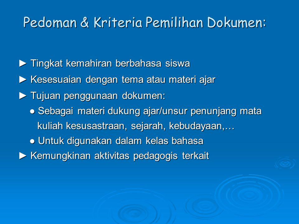 Pedoman & Kriteria Pemilihan Dokumen: